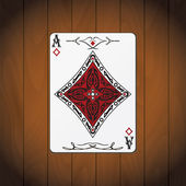 Ace of diamonds poker card varnished wood background — Stock Vector