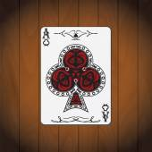 Ace of clubs poker card varnished wood background — Stock Vector