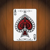 Ace of spades poker card varnished wood background — Stock Vector