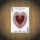 Ace of hearts poker card varnished wood background — Stock Vector