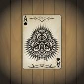 Ace of clubs poker card old look varnished wood background — Stock Vector