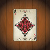 Ace of diamonds poker card old look varnished wood background — Stock Vector