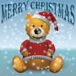 Teddy bear brown in red sweater and red hat with snow MerryChristmas — Stock Vector #57994471