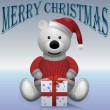 Teddy bear white in red sweater and red hat with present MerryChristmas — Stock Vector #57994535