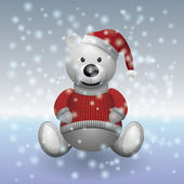 Teddy bear white in red sweater and red hat with snow — Stockvektor