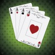 Ace of spades, ace of hearts, ace of diamonds, ace of clubs poker cards green background — Stock Vector #59761505