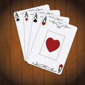 Ace of spades, ace of hearts, ace of diamonds, ace of clubs poker cards varnished wood background — ストックベクタ