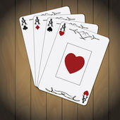 Ace of spades, ace of hearts, ace of diamonds, ace of clubs poker cards varnished wood background — Vettoriale Stock