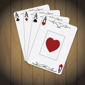 Ace of spades, ace of hearts, ace of diamonds, ace of clubs poker cards varnished wood background — Stock vektor