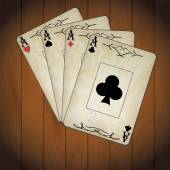 Ace of spades, ace of hearts, ace of diamonds, ace of clubs poker cards old look varnished wood background — Vettoriale Stock
