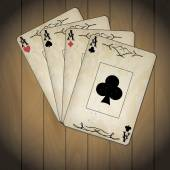 Ace of spades, ace of hearts, ace of diamonds, ace of clubs poker cards old look varnished wood background — ストックベクタ