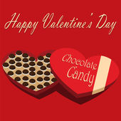 Valentine's Day box of chocolate candy red background — Stockvector