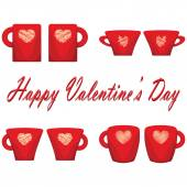 Valentine day couple of cups white background — Vettoriale Stock