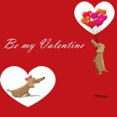 Valentine's Day, dog with balloons flying, postcard text be my valentine — Stok Vektör