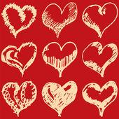 Valentine hearts sketch set on red background — Stok Vektör
