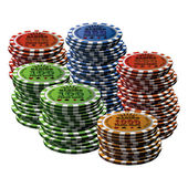 Poker chip many isolated white background — Stock Vector
