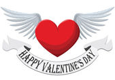 Valentine Heart with wings isolated on white background — Stock Vector
