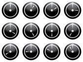 Clock symbol set white on black isolated on white background — Stock Vector
