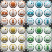 Pregnantcy flat icon buttons set in grey circles — Stock Vector