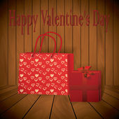 Valentine day Realistic red shopping bag with wraped present on wooden background — Stock Vector