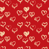 Valentines day hand drown hearts seamless pattern — Stock Vector