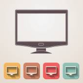 Widescreen monitor flat icons set fadding shadow effect — Stock Vector
