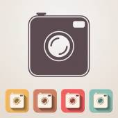 Old photocamera flat icons set fadding shadow effect — Stock Vector