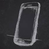 Schizzo disegnato a mano del telefono mobile con ombra sulla lavagna — Vettoriale Stock