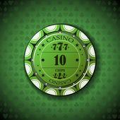 Poker chip nominal ten, on card symbol background — Stock Vector
