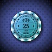 Poker chip nominal twenty five, on card symbol background — Stock Vector