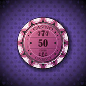Poker chip nominal fifty, on card symbol background — Stock Vector