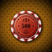 Poker chip nominal five hundred, on card symbol background — Stock Vector