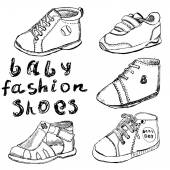 Baby fashion shoes set sketch handdrawn isolated on white background — Stock Vector