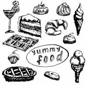 Food deserts set sketch handdrawn on blackboard, isolated on white background — Stock Vector