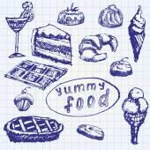 Food deserts set sketch handdrawn on notebook paper — Stock Vector
