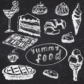 Food deserts set sketch handdrawn on blackboard — Stock Vector