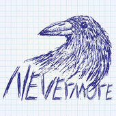 Crow raven handdrawn sketch text nevermore on paper notebook — Vetor de Stock