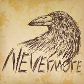 Crow raven handdrawn sketch text nevermore on old paper — Stock Vector