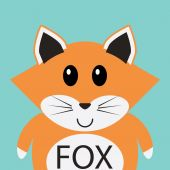 Schattig fox cartoon platte pictogram avatar — Stockvector