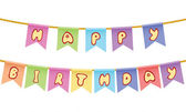 Happy birthday Text on rope isolated on white background — Stock Vector