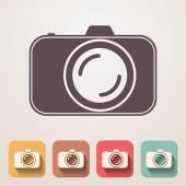 Professional photocamera flat icons set fadding shadow effect — Stock Vector