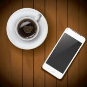 New realistic mobile phone smartphone mockup template with coffee cup on wood background — Stock Vector