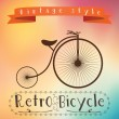 Retro bicycle on colorfull background. Text in vinage frame — Stock Vector #68798289