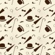 Retro gentleman elements - bowler, moustache, tobacco pipe monocle, cane and umbrella seamless pattern — Vector de stock  #68798307
