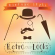 Retro gentleman elements set - bowler, moustache, tobacco pipe monocle, cane and umbrella — 图库矢量图片 #68798703