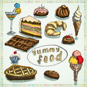 Food deserts set sketch hand drawn colored — Stock Vector