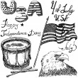 Hand drawn sketch American bald eagle drum and usa flag, forth of july set, text happy independence day, isolated on white — Stock Vector #74898695