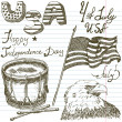 Hand drawn sketch American bald eagle drum and usa flag, forth of july set, text happy independence day, paper notebook background — Stock Vector #74898883