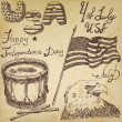 Hand drawn sketch American bald eagle drum and usa flag, forth of july set, text happy independence day, on old paper background — Stock Vector #74898949