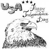 Hand drawn sketch American bald eagle, text happy independence day, isolated on white — 图库矢量图片